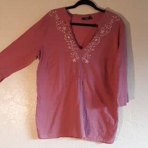 cotton tunic with embroidered side slits